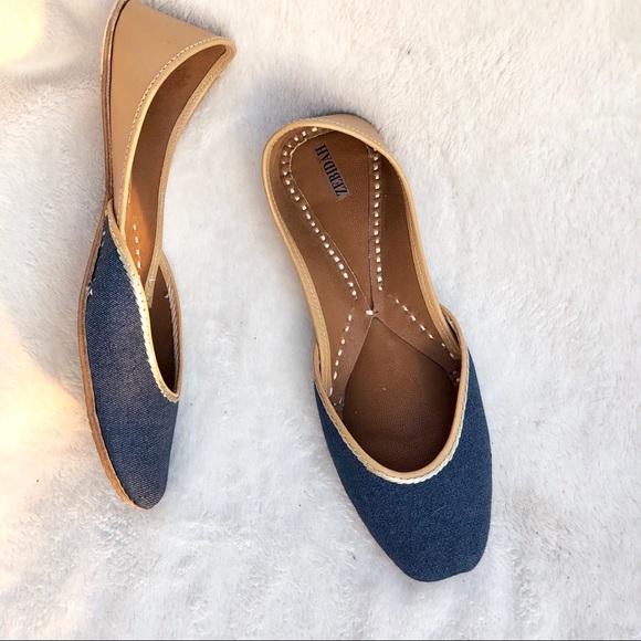 7dc152ae760458 ... Handmade Denim Flats Shoes Sandals. M 5c3b4cf07386bc6bf1fc2344